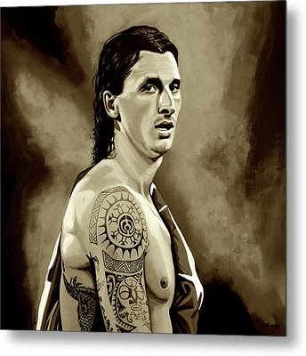 Zlatan Ibrahimovic Sepia Metal Print by Paul Meijering