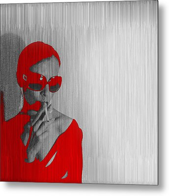 Zoe In Red Metal Print by Naxart Studio