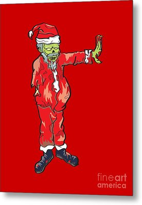 Zombie Santa Claus Illustration Metal Print by Jorgo Photography - Wall Art Gallery