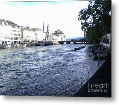 Zurich, Switzerland, Above The 'ana'-baptist Memorial Viewing The Possible Original Place Of Event  Metal Print by Paula ALBERT