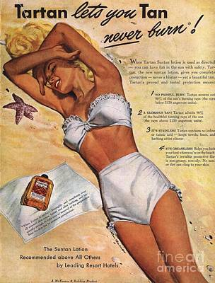 1940s Usa Tartan Suntans Sunbathing Poster by The Advertising Archives