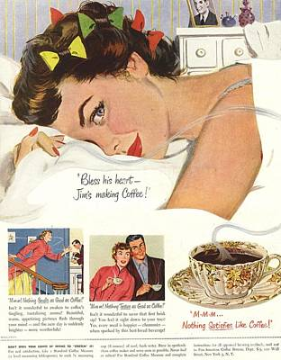 1950s Usa Sleep Sleeping Coffee Smell Poster by The Advertising Archives