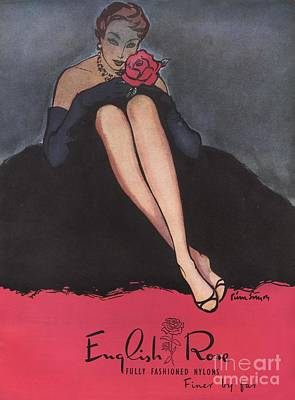 1953 1950s Uk Womens Stockings Nylons Poster by The Advertising Archives