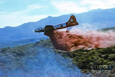 Poster featuring the photograph  B-17 Air Tanker Dropping Fire Retardant by Bill Gabbert