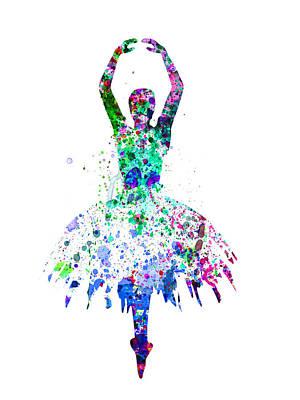 Ballerina Dancing Watercolor 4 Poster by Naxart Studio