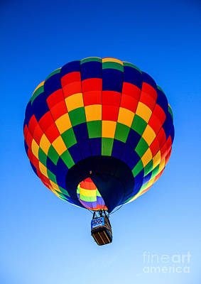 Checkered  Colored Hot Air Balloon  Poster by Robert Bales