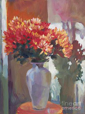 Chrysanthemums In Vase Poster by David Lloyd Glover
