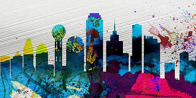 Dallas City Skyline Poster by Naxart Studio