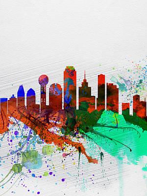 Dallas Watercolor Skyline Poster by Naxart Studio