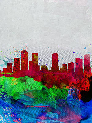 Denver Watercolor Skyline Poster by Naxart Studio