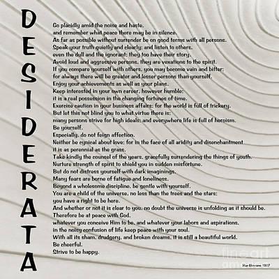 Desiderata 3 Poster by Wendy Wilton