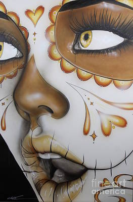 Sugar Skull - ' Dia De Los Muertos ' Poster by Christian Chapman Art