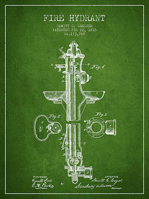 Fire Hydrant Patent From 1876 - Green Poster by Aged Pixel