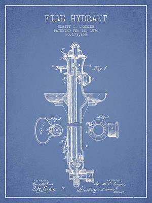 Fire Hydrant Patent From 1876 - Light Blue Poster by Aged Pixel