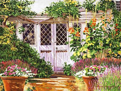 Hollyhock Gardens Poster by David Lloyd Glover