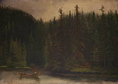 Indian Hunters In Canoe Poster by Albert Bierstadt