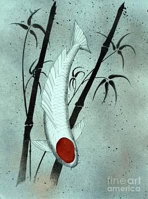 Koi Tancho And Bamboo  Poster by Gordon Lavender