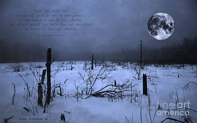 Native American Full Moon Treat The Earth Well Poster by John Stephens