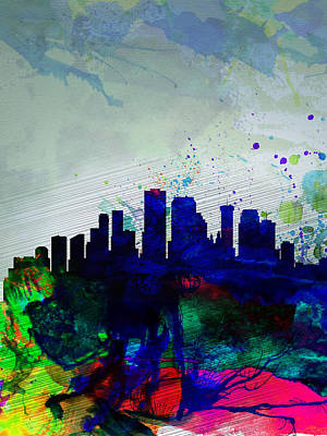 New Orleans Watercolor Skyline Poster by Naxart Studio