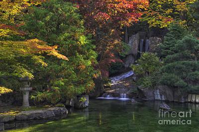Nishinomiya Japanese Garden - Waterfall Poster by Mark Kiver