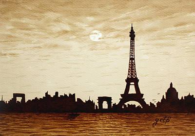 Paris Under Moonlight Silhouette France Poster by Georgeta  Blanaru