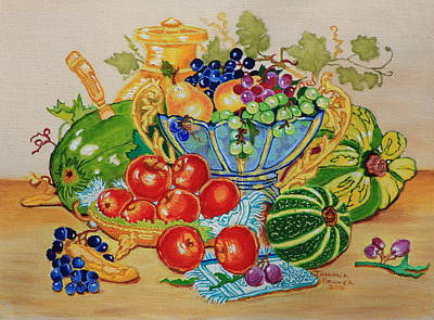 Red Apples And  Grapes Oil Painting Poster by Johanna Bruwer