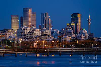 Tel Aviv Blue Hour Skyline  Poster by Ronsho