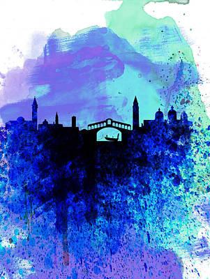 Venice Watercolor Skyline Poster by Naxart Studio