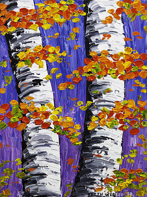 White Birch Trees In Fall On Purple Background Painting Poster by Keith Webber Jr