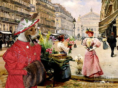 Wire Fox Terrier Art Canvas Print Poster by Sandra Sij