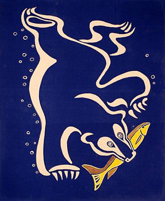 Bear Diving For The Fish Poster by Vadim Vaskovsky