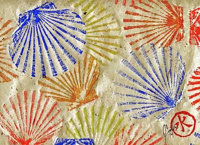 Gyotaku Scallops - Bivalvify - Seafood Melody Poster by Jeffrey Canha
