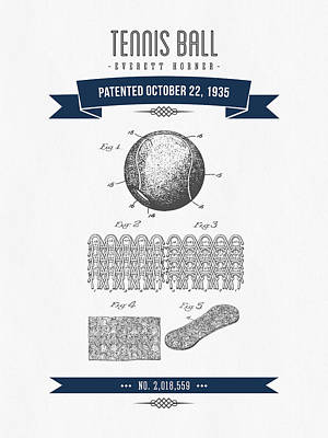 1907 Tennis Racket Patent Drawing - Retro Navy Blue Poster by Aged Pixel