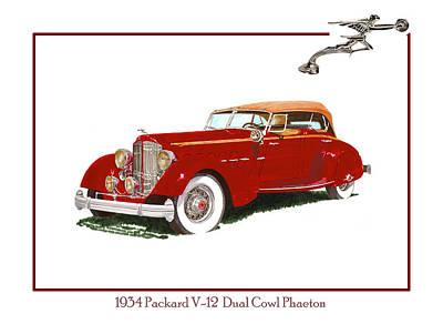 1934 Packard V-12 Dual Cowl Phaeton Poster by Jack Pumphrey