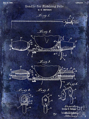 1940 Handle For Fishing Pole Patent Drawing Blue Poster by Jon Neidert
