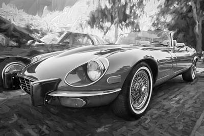 1975 Jaguar Xke V12 Convertible Painted Bw  Poster by Rich Franco