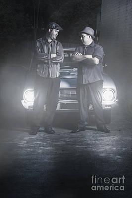 2 Male Gangsters Meeting In Dark Alleyway Poster by Jorgo Photography - Wall Art Gallery