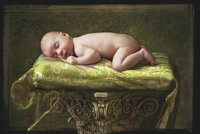 A Baby Asleep On A Pillar Poster by Pete Stec