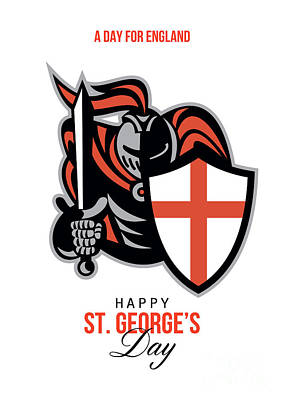 A Day For England Happy St George Greeting Card Poster by Aloysius Patrimonio
