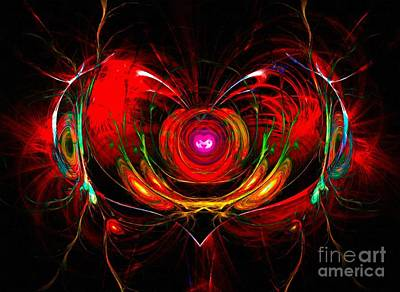 A Digital Painting Of Abstract Colouful Heart Poster by Ken Biggs