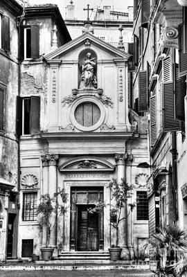 A Small Church In Rome Bw Poster by Mel Steinhauer