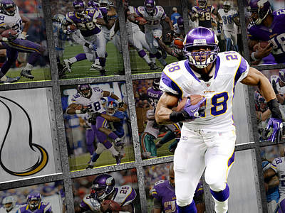 Adrian Peterson Minnesota Vikings Poster by Joe Hamilton