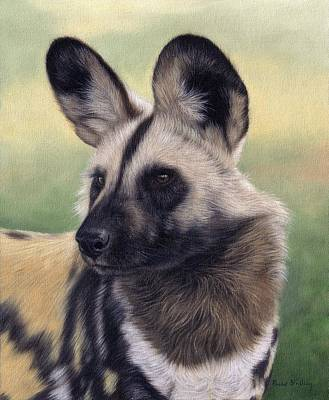 African Wild Dog Painting Poster by Rachel Stribbling
