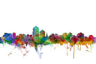 Albuquerque New Mexico Skyline Poster by Michael Tompsett