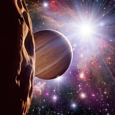 Alien Planet And Star Cluster Poster by Detlev Van Ravenswaay