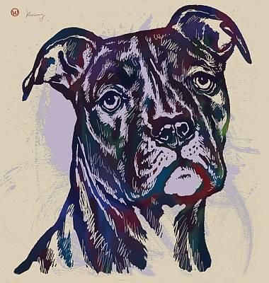 Animal Pop Art Etching Poster - Dog 13 Poster by Kim Wang