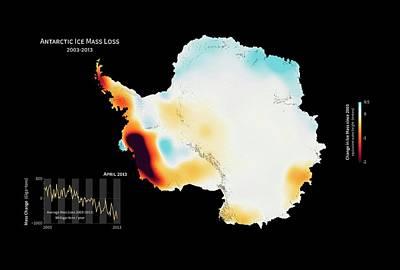 Antarctic Ice Mass Change 2003-2013 Poster by Nasa
