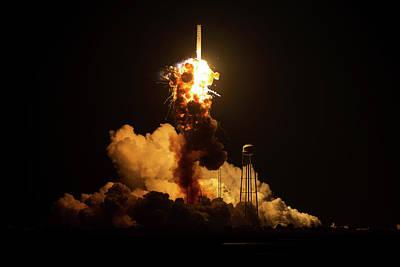 Antares Rocket Explosion Poster by Nasa/joel Kowsky