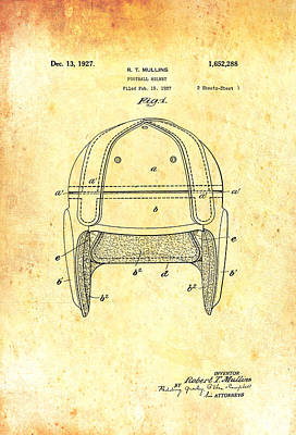 Antique Football Helmet Patent 1927 Poster by Mountain Dreams