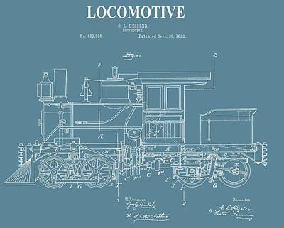 Antique Locomotive Patent Poster by Dan Sproul